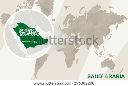 zoom on saudi arabia map and