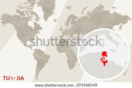 Zoom on Tunisia Map and Flag. World Map.