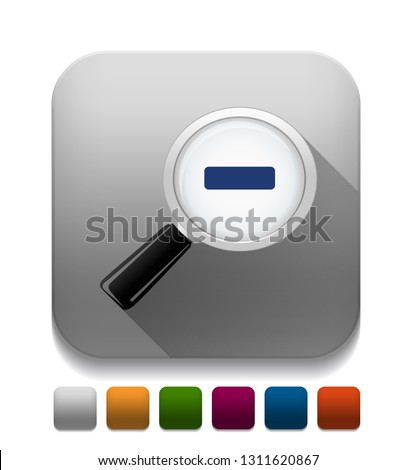 zoom out glossy icon With long shadow over app button