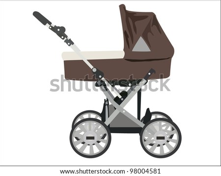 Zoomed baby stroller vector image on white background