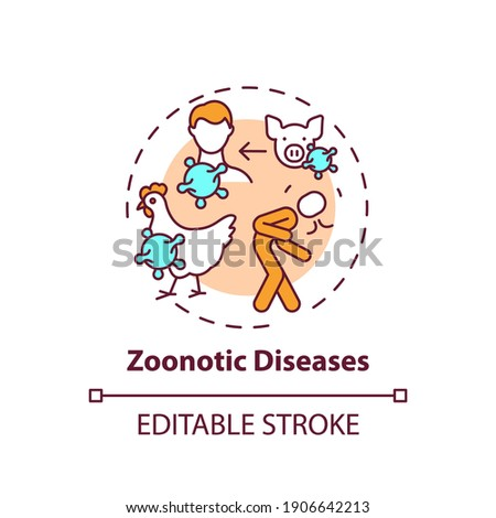 Zoonotic diseases concept icon. Bird, pig flu. Swine influenza. Infection from animal. Healthcare idea thin line illustration. Vector isolated outline RGB color drawing. Editable stroke Stock photo ©