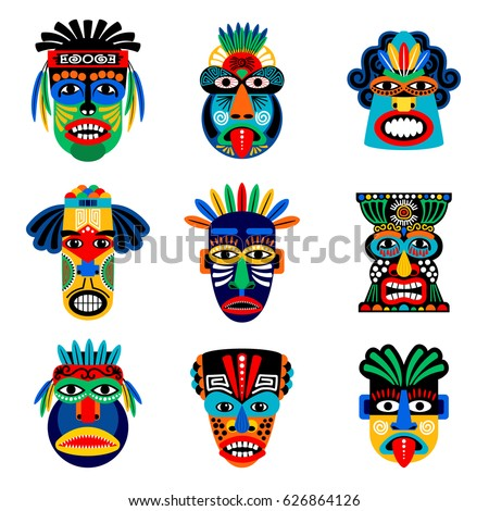 zulu or aztec mask vector icons