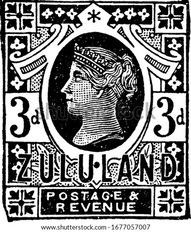 Zululand Stamp (3 d) from 1888, a small adhesive piece of paper stuck to something to show an amount of money paid, mainly a postage stamp, vintage line drawing or engraving illustration. Photo stock ©