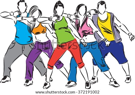 zumba dancers illustration