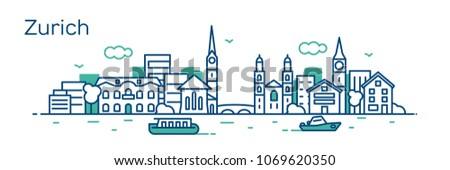 zurich city vector illustration