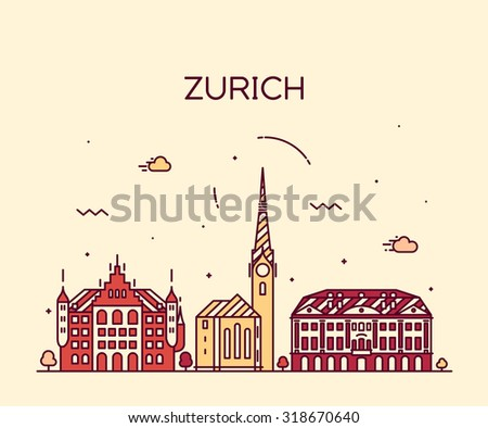 zurich skyline  detailed