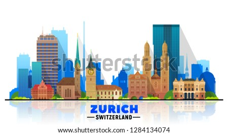 zurich switzerland skyline with