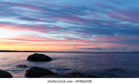 Stocka Sweden, August 2017, Sunset from Rönnskär, facing north