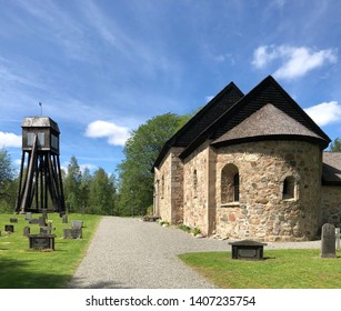 Stockaryd, Smaland, Sweden - May 23 2019: Hjalmseryds old church in Stockaryd with oldest parts from 12th century