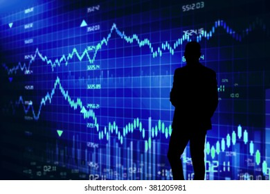 stockbroker black silhouette against the blue screen with quotes