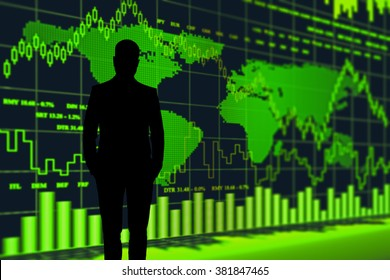 stockbroker black silhouette against the grteen screen with quotes and  world map