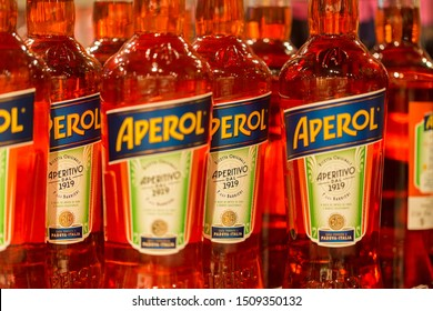 STOCKDORF, BAVARIA / GERMANY - Aug 31, 2019: Close up of Aperol bottles (italian aperitif). Ingredient for Aperol Spritz (together with Prosecco, club soda and an orange slice). Part of Campari Group.