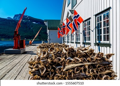 Stockfish, dried by cold air and wind, at the fishing harbor Norway. To the berths for ships