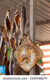 Stockfish on a rope in the open air