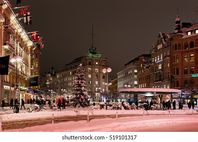 Stockholm 9 november 2016, Lots of snow at Stureplan due to snow cannon over Stockholm. 50 cm snow in 12 hours.