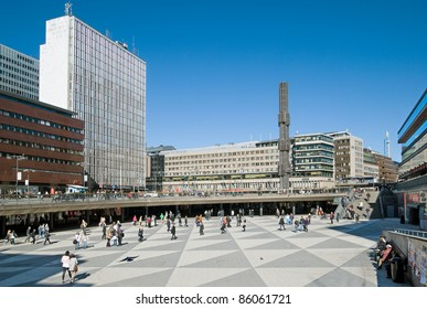 STOCKHOLM - APRIL 14: View of Sergels torg on April 14, 2010 in Stockholm. It is most central public square in the city