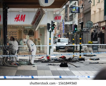 Stockholm, April 8, 2017. The day after the terrorist attack in central Stockholm. Crime scene investigators are looking for evidence