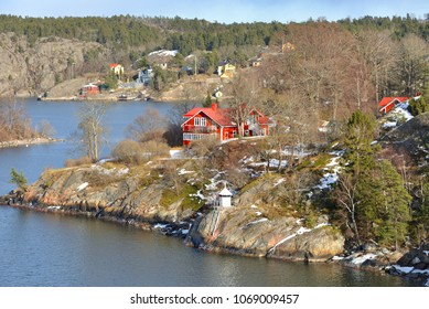 Stockholm archipelago, largest archipelago in Sweden, and second-largest archipelago in Baltic Sea. Archipelago extends from Stockholm roughly 60 kilometres (37 mi) to east. Beautiful houses on rocks