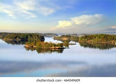 Stockholm Archipelago on the Baltic Sea at sunrise