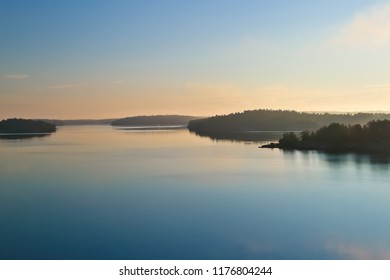 stockholm archipelagos and calm sea water in early morning sweden