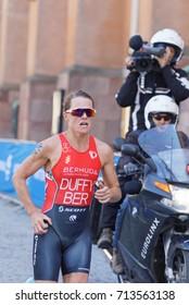 STOCKHOLM - AUG 26, 2017: Running female triathlete gold medalist Flora Duffy (BER) in the Women's ITU World Triathlon series event August 26, 2017 in Stockholm, Sweden