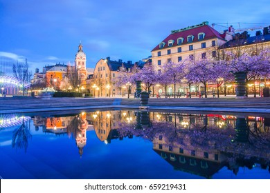 Stockholm city center with cherry blossom reflected over water at night.