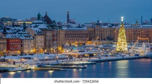 Stockholm city center decorated for Christmas at night,