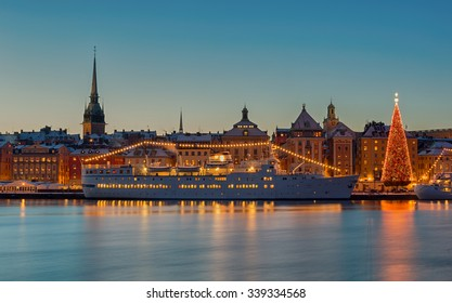 Stockholm city with Christmas tree and light decorations.