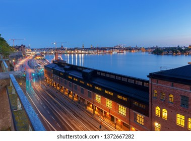 Stockholm. City embankment at sunset.