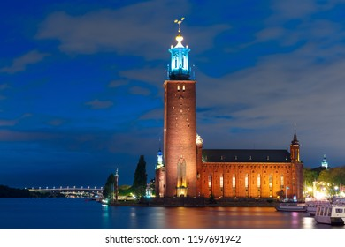 Stockholm City Hall or Stadshuset at night in the Old Town in Stockholm, capital of Sweden