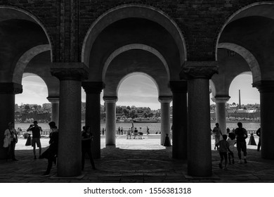 The Stockholm City Hall (Stockholms stadshus) in Black and White, Stockholm, Sweden - 27 Jun 2018:  It is the building of the Municipal Council for the City of Stockholm in Sweden.