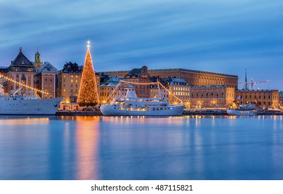 Stockholm city illuminated with christmas lights at night.