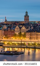 Stockholm City Skyline Cityscape Panorama at Night in Summer, Sweden