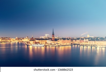 Stockholm city skyline and streets at night, Stockholm, Sweden