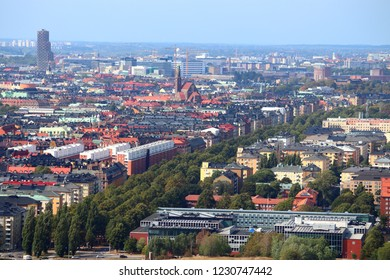 Stockholm city skyline in Sweden. Aerial view of Ostermalm district.