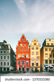 Stockholm city Stortorget architecture view in Sweden travel european landmarks colorful houses