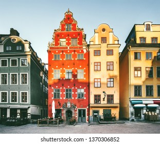 Stockholm city Stortorget colorful houses architecture cityscape view in Sweden Europe travel landmarks