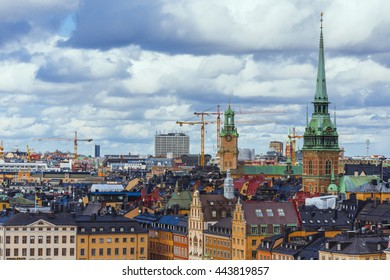 Stockholm city, Sweden. Aerial view of the Old Town (Gamla Stan)