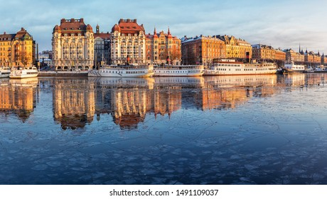 Stockholm city in winter, panoramic image.