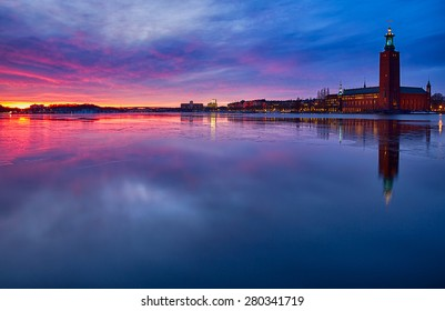 Stockholm city-hall at sunset in winter.
