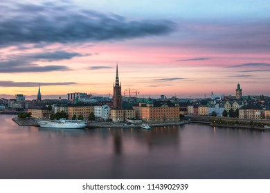 Stockholm cityscape at sunset.