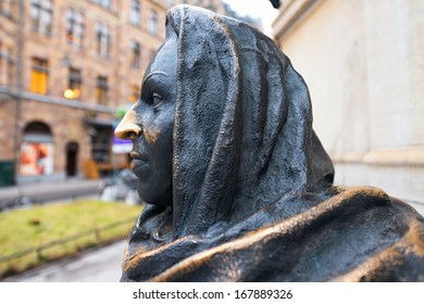 STOCKHOLM - DEC 18: Detail of statue depicting the actress Margaretha Krook (1925-2001), by Marie-Louise Ekman, outside the Royal theater Dramaten. December 18, 2013 in Stockholm, Sweden