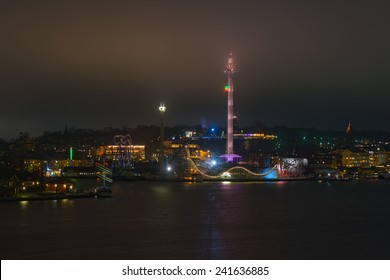 STOCKHOLM, DEC 31: View over Stockholm during New Years evening with Skansen and Grona Lund, Stockholm, Sweden in December 31, 2014. Foggy night.