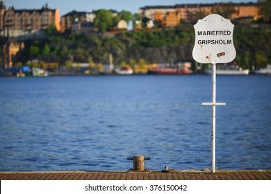 Stockholm harbor sign Mariefred Gripsholm