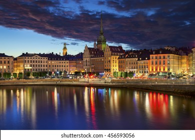 Stockholm. Image of Stockholm, Sweden during twilight blue hour.