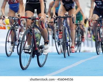 STOCKHOLM - JUL 02, 2016: Closeup of large group of colorful female triathlete bicycles in the Women's ITU World Triathlon series event July 02, 2016 in Stockholm, Sweden
