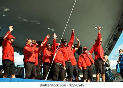 STOCKHOLM - JUNE 18:Volvo Ocean Race,stopover in Stockholm,PUMA Ocean Racing team,prize giving ceremony on Stockholm City Sprint on June 17,2009 ,1st place winners in Stockholm,Sweden