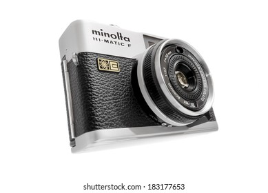 STOCKHOLM - MARCH 23: Vintage compact camera (Hi-Matic F) in black and silver manufactured by Minolta on white. March 23, 2014 in Stockholm, Sweden. From the early 1970s.