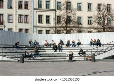 Stockholm, May 1:st 2018. People stay out in the sun at Odenplan
