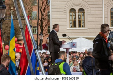 Stockholm, May 1:st 2018, Prime minister Stefan Löfven giving a speech during international labour day